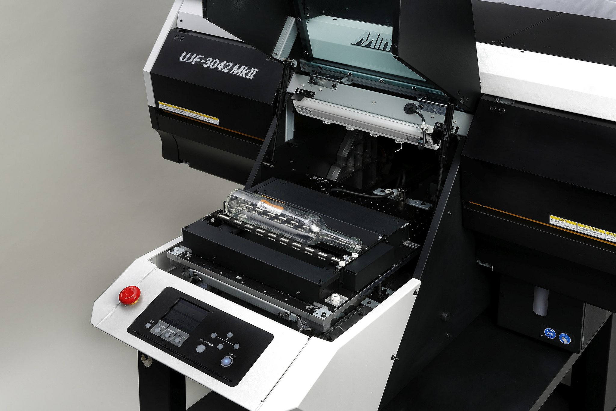 Mimaki's optional Kebab device extends the capabilities of its new UJF MkII range