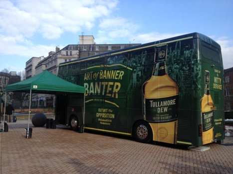 Completed bus wrap for Tullamore Dew