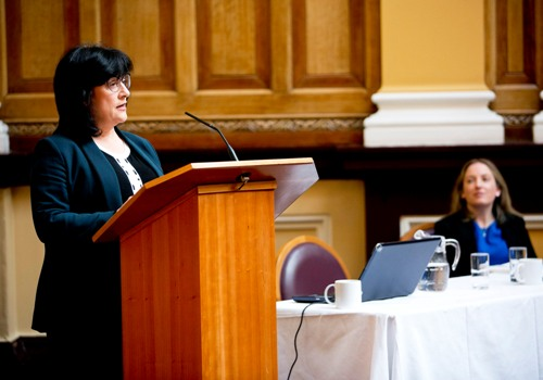 Anne Heraty of CPL Resources plc (Standing) and Orla O'Gorman, Head of Irish Market, Irish Stock Exchange