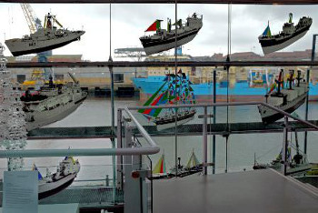 Lintec Graphic Films, cut-out images of ships at the National Glass Centre