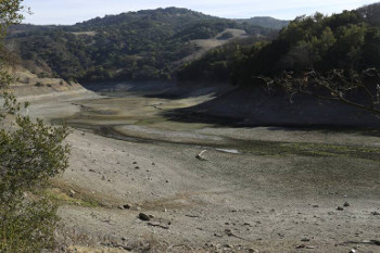 This is the Almaden Reservoir.  It is nearly dry and California Governor Jerry Brown declared a drought emergency. The dry year of 2013 has left fresh water reservoirs with a fraction of their normal water reserves.