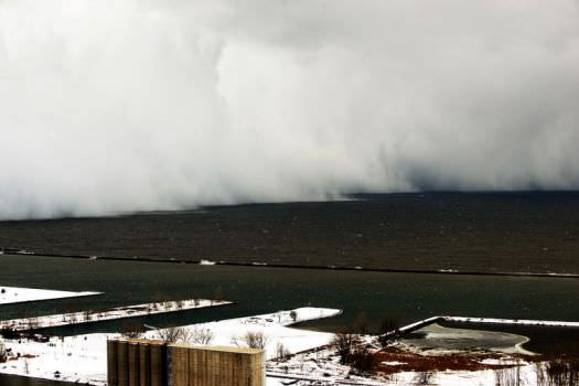 A band of snow making its way across the Buffalo Area