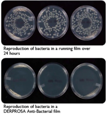 Bacteria running film vs Derprosa Anti-Bacterial: Comparison of bacteria on the coated film of an everyday meal and a film Anti-Bacterial Derprosa