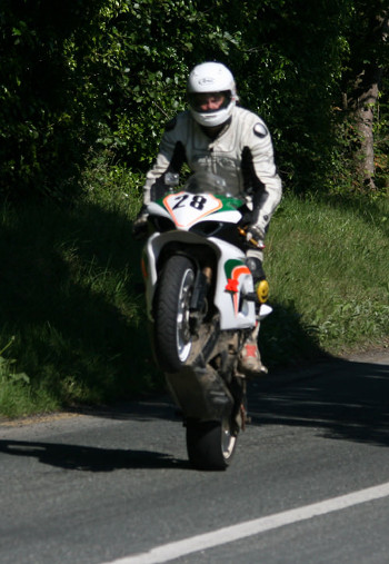 Skerries 100 2012. Paul Gartland doing a wheelie for the camera