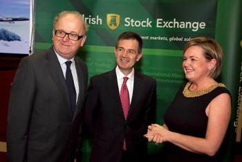 Joe Gill, Chairman Enterprise Ireland Aviation Forum (& Director of Corporate Broking at Goodbody Stockbrokers),Kostya Zolotusky, Boeing (title - Managing Director Capital Markets Development and Leasing at Boeing Capital Corporation), Deirdre Somers, Chief Executive, Irish Stock Exchange