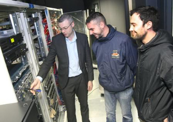 Owen Kirwan senior systems engineer at Datapac who is joined by Andrew Hairstens and Thomas Ochman PC Maintenance students at Clane College