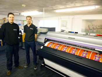 Peter Robinson (right) and Alan Wise (left) from Harrisons Signs with their new Mimaki SUV printer