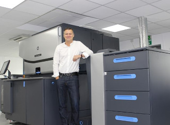 Jon Bailey with ProCo's new HP Indigo 7800 Digital Press which will allow the company to deliver innovative applications to its customers that will really add value to their businesses